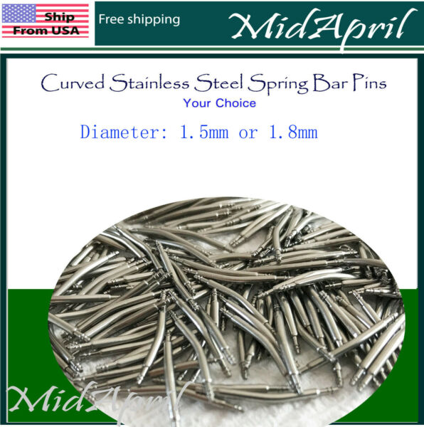 Bar Pins Curved  Spring Bar Pins Watchband Watch Stainless Steel   4 PCS