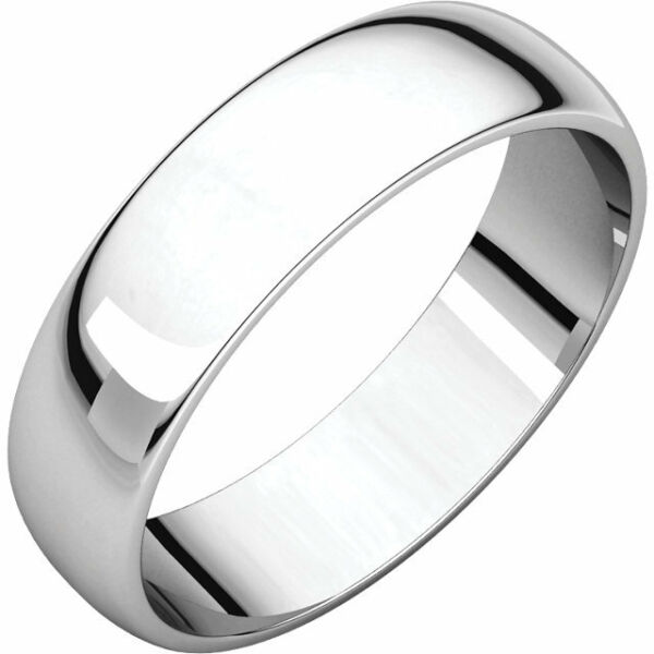 6mm 14K Solid White Gold Plain Dome Half Round Comfort Fit Wedding Band Size 8