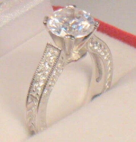 3 Ct Round cut Antique Style Diamond Engagement Ring Solitaire White Gold ov