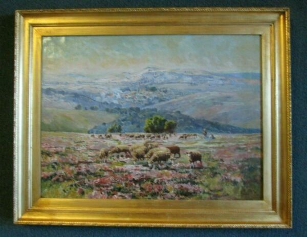 EDOUARD PAIL PAINTING ATTRACTIVE ANTIQUE PASTORAL LANDSCAPE BY LISTED ARTIST
