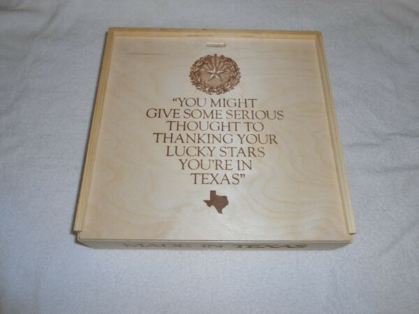 TEXAS WOOD CRATE STORAGE BOX MADE IN TEXAS w SLIDING LID