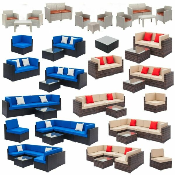 Patio Rattan Wicker Furniture Set Garden Sectional Couch Outdoor Love Sofa Table $346.07
