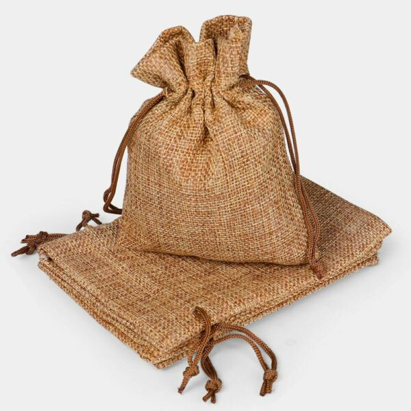 50PCS Linen Burlap Bags with Jute Drawstring for Gift Bags Wedding Party Favor