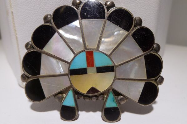 Unsigned Zuni Sunface Sterling Silver Belt Buckle Channel Multi Inlay Southwest