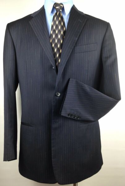 Jhane Barnes Frequency Mens 100% Wool Black Pinstripe Suit Flat Pants Size 42L