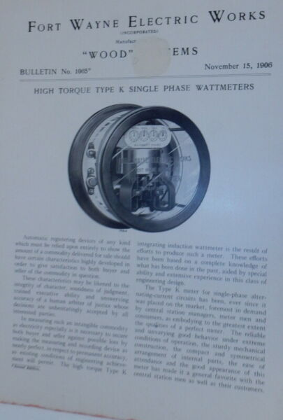 Fort Wayne Electric Works Wood Systems Bulletin No.1065 High Torque Type K $24.00