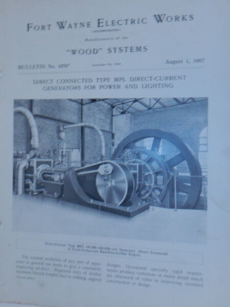 Fort Wayne Electric Works Wood Systems Bulletin No.1079 Direct Connected Type $24.00