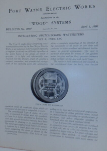 Fort Wayne Electric Works Wood Systems Bulletin No.1085 Integrating $24.00