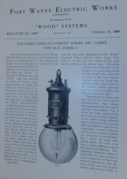 Fort Wayne Electric Works Wood Systems Bulletin No.1086 Enclosed $30.00