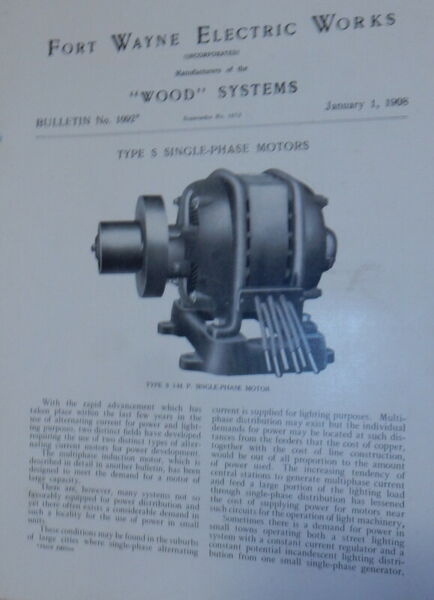 Fort Wayne Electric Works Wood Systems Bulletin No.1092 Type S Single Phase $24.00