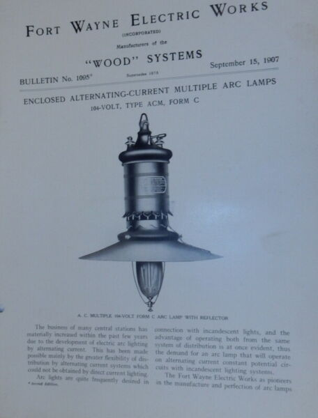 Fort Wayne Electric Works Wood Systems Bulletin No.1095 Enclosed Alternating $24.00