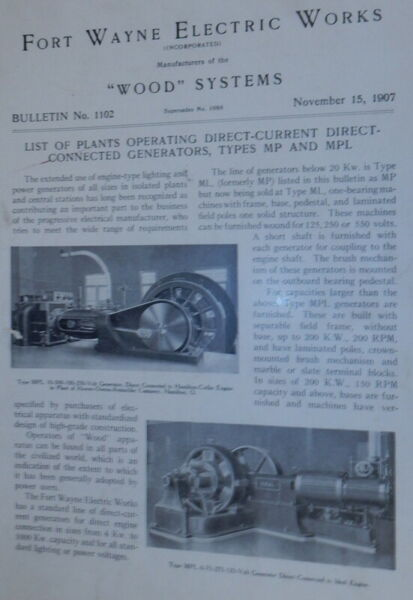 Fort Wayne Electric Works Wood Systems Bulletin No.1102 supercedes No 1088 $42.00