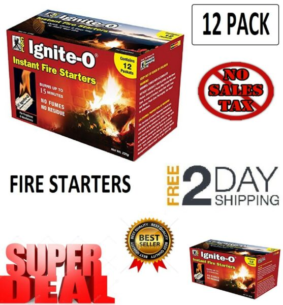 12 Pack Ignite O Instant Fire Starter Lighter Barbecue Grill Fireplace Campfire