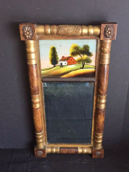 Antique Federal Split Column Mirror with Reverse Painting on Glass Cottage Scene