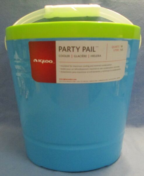Igloo Insulated 10 Quart 9 Liters Party Pail Bucket Cooler Green And Blue NEW
