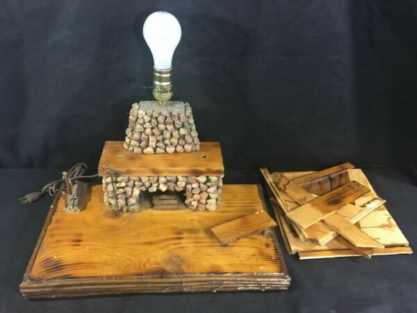 Vintage Wooden Folk Art STONE FIREPLACE TABLE LAMP Hearth Cabin Lodge Log Home