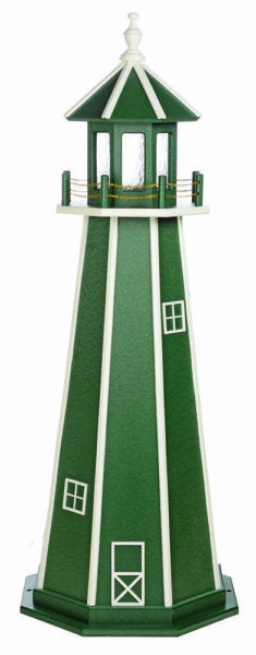 Amish Made Poly Garden Lighthouse -Standard - Green & White - Lighting Options