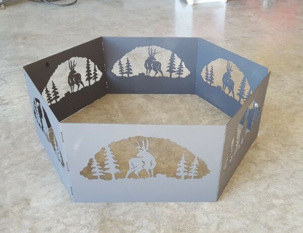 Deer Silhouette Fire Ring Outdoor Scene Steel Pit Nature Grill