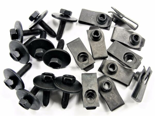 Chrysler Body Bolts & U-nut Clips- M6-1.0 x 25mm Long- 10mm Hex- 20 pcs- #147