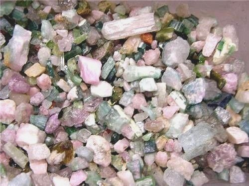 Tourmaline crystal pink green blue mixed mine rough grade 12 pound lots