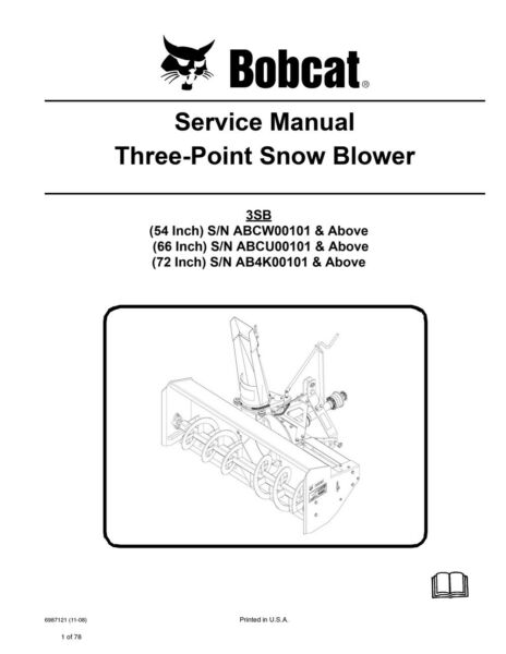 Bobcat Three Point Snow Blower Repair Service Manual 2008 3SB 6987121