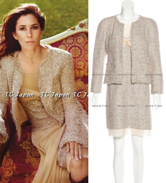CHANEL 05S 05P Creme Beige Metallic Tweed Jacket & Dress Party F40 F42
