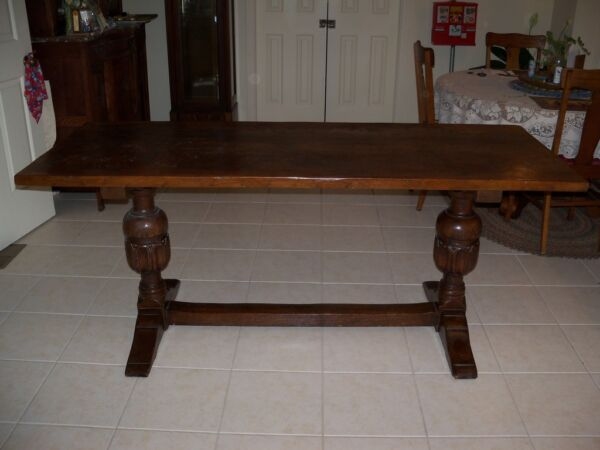 Antique Double Trestle Oak Table From 1919 Thistle Dhu Pinehurst NC Home
