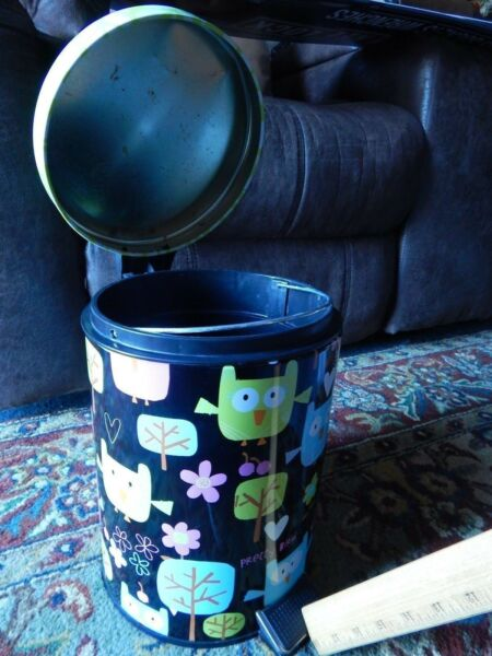 10'' Deep Removable Inner Pail ~TRASH_REFUSE CAN~ w Foot Pedal OWLS BlackGreen