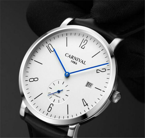 Carnival Men Automatic Watch Small Case 38mm  Date  Leather 25Jewels Urtra Thin