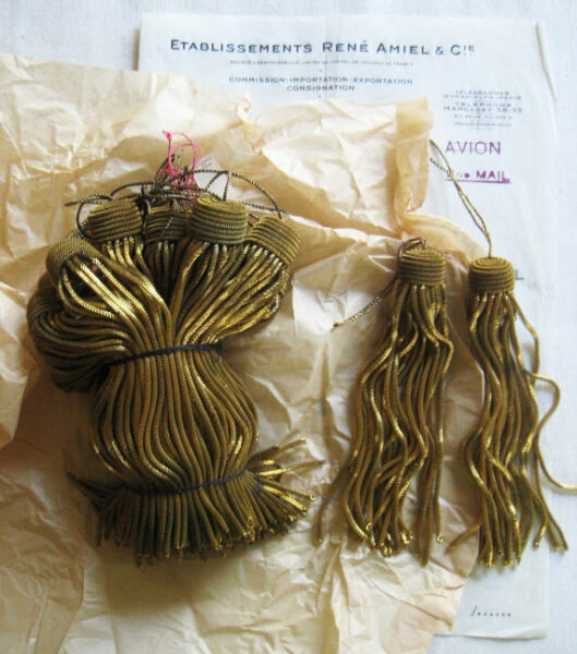 Amazing Price 4 Vintage Antique French Dark Gold Metallic Bullion 4 quot; Tassels