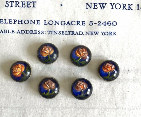 6 pcs Vintage Antique Early 1900#x27;s Handpainted Floral Buttons Metal Backing