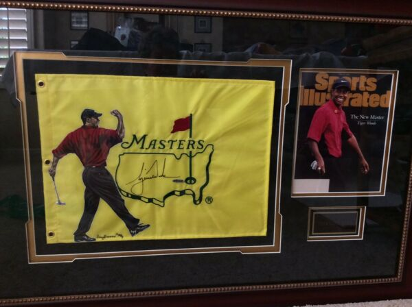 Tiger Woods Signed 1997 Masters Flag Auto 1st Major Win Art By Doug Brewer UDA