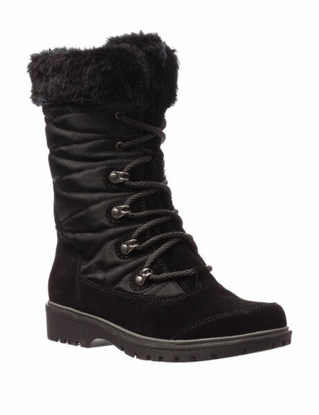 Baretraps Faux Fur Luxury Fashion Black Womens Satin Winter Boots Size 10