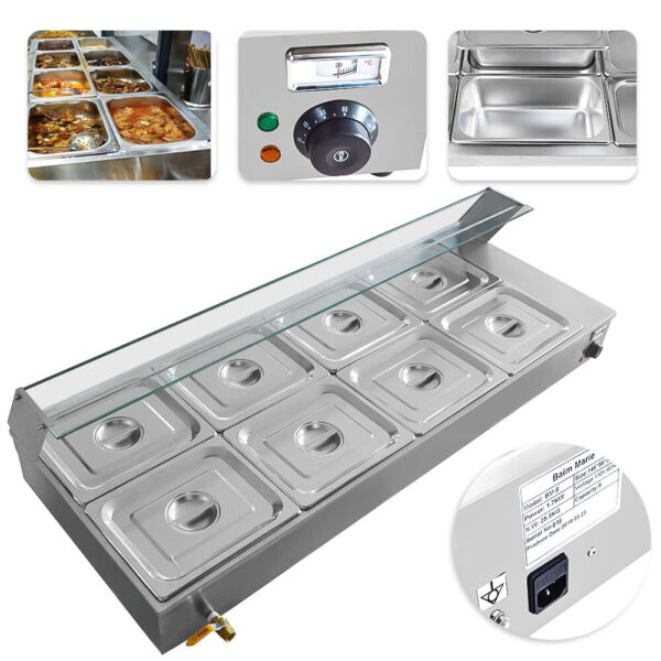8-Pan Bain Marie Food Warmer 48L Buffet Steam Commercial Countertop 110V 1700W