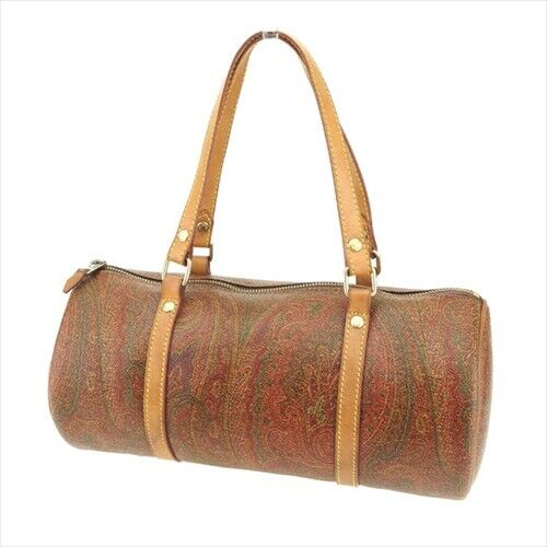 Etro bag Hand bag Paisley Brown Beige Gold PVC leather Authentic Used Q568 $249.00