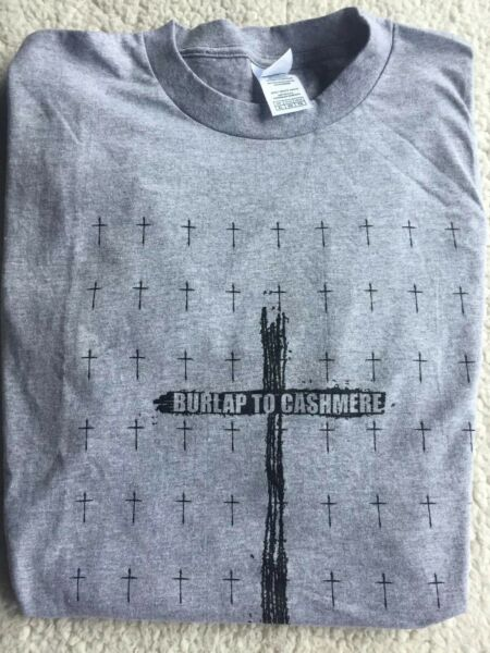 BURLAP TO CASHMERE BAND CONCERT GRAY T SHIRT XL WITH CROSSES BROOKLYN NY