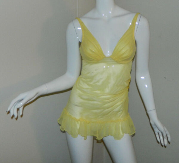 Women Victoria's Secret Underwire Intimate Baby-doll Solid Yellow Size 34C