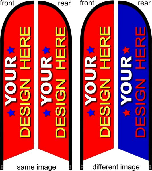 DOUBLE SIDED CUSTOM PRINTED Premium quality swooper feather flag banner sign kit