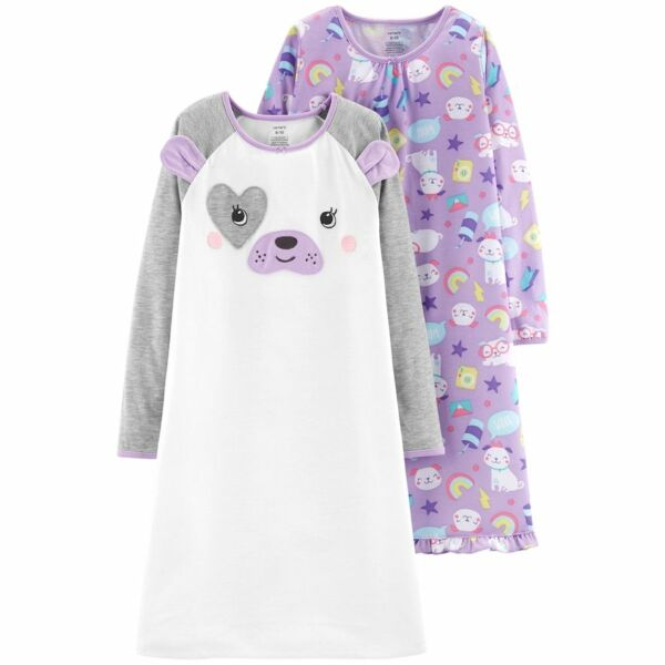 New Carter's 2-Pack Purple Puppy Dog Sleep Nightgowns - Toddler Girls 3T