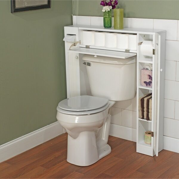 Bathroom Cabinet Over the Toilet Rack Space Saver Storage White Wood Supplies