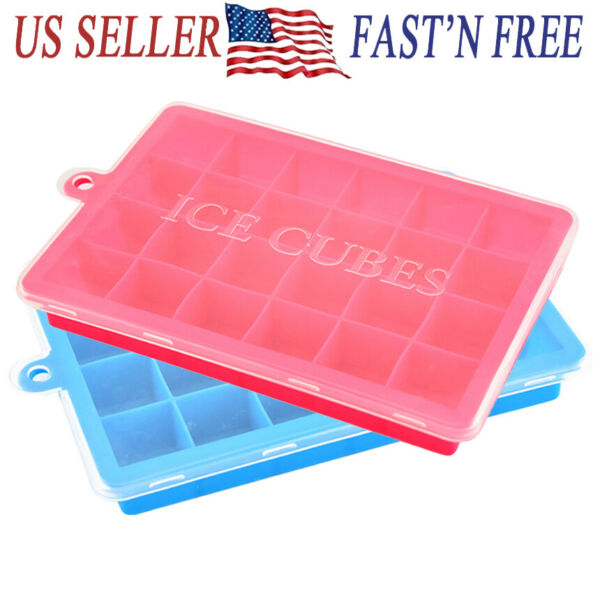 24 Case Silicone ICE Cube Tray Maker Mold Cocktails Whiskey stones square $7.31