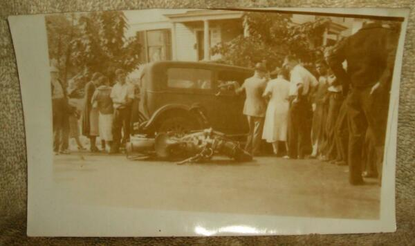 1930's Photograph - Police Motorcycle Accident  Crash