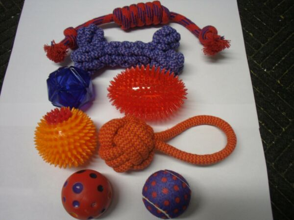 New ! Dog Toy 8 Piece Variety Combo Fun Pack Rope Toys Spiky Squeaky Tennis Ball