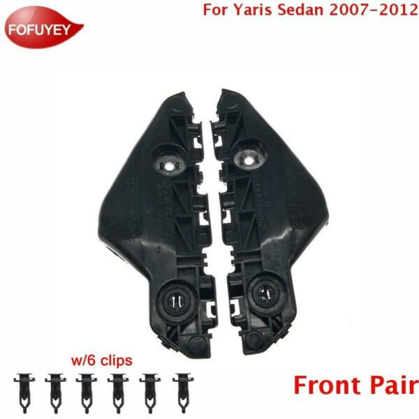 For Yaris Sedan 2007 2012 Bumper Bracket Retainer Front 2PC Plastic Hold Mount $11.68