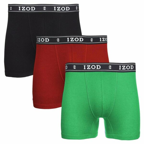 IZOD Men's Underwear Knit Boxer Briefs 3 Pack Cotton Sizes Small Medium Large