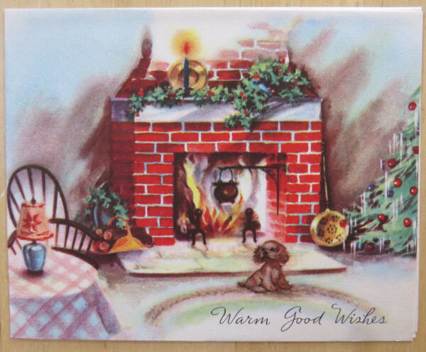 PUPPY BY FIREPLACE VINTAGE PRE 1950 SIGNED CHRISTMAS HOLIDAY CARD
