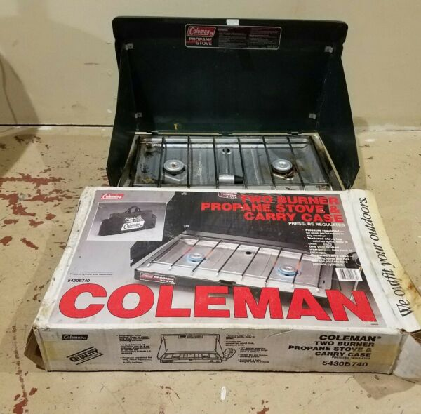 USED COLEMAN 5430B 2 Burner Propane Stove 20000 BTU Camping Adjustable