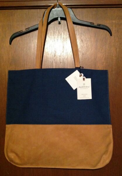 Hearth & Hand Magnolia NAVY BLUE Canvas Leather Tote Bag Joanna Gaines HAVE 3
