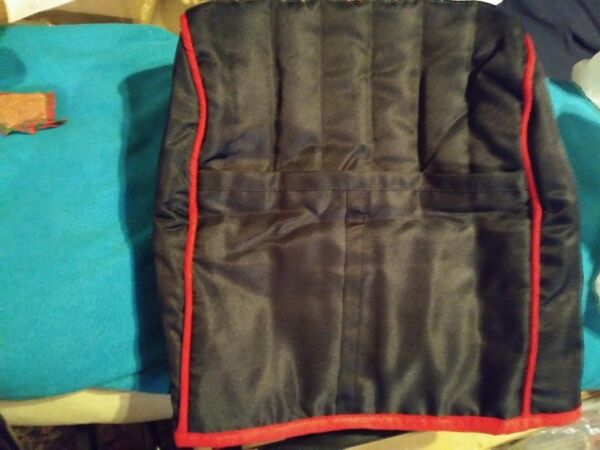Polyester / Cotton Quilted Appliance Cover W/ Pocket Black / Red 16X13X8