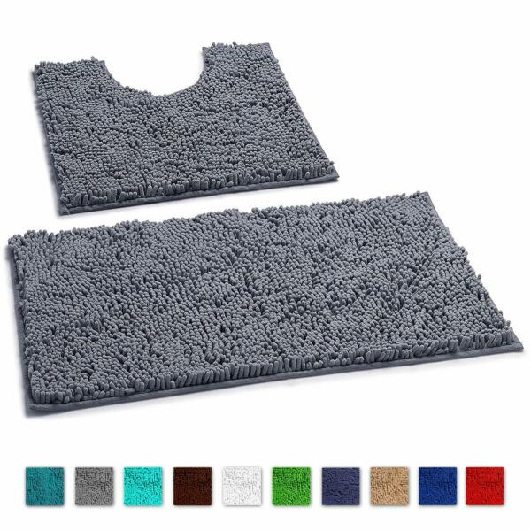 LuxUrux 2Piece Bath Mat Extra-Soft Plush Non-Slip Thick Shower Bathroom Rugs set